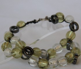 White and green glass bead bracelet
