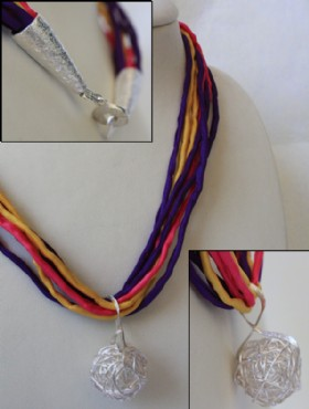 Colored ribbon necklace with silver ball