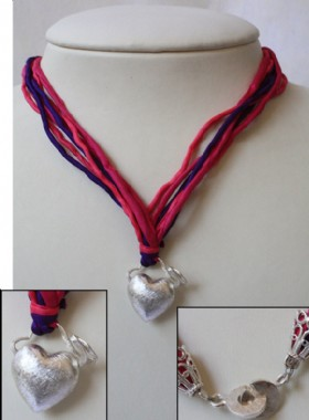 Colored ribbon necklace-silver heart
