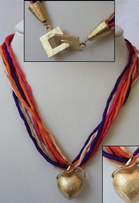 Colored ribbon necklace with heart