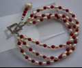 Rice pearls and red jade bracelet