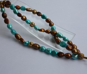 Turquoise and brown fresh water pearl bracelet