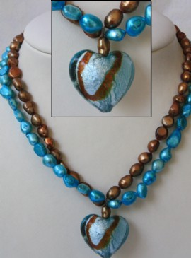 Brown-turquoise necklace-murano heart