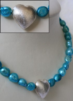 Turquoise necklace with silver heart