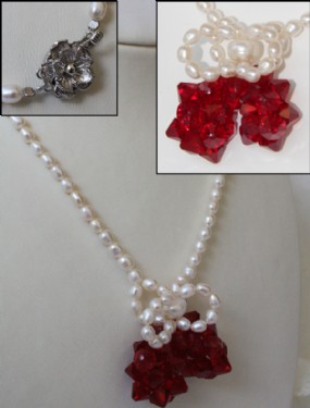 Rice pearl and cherry swarowsky necklace