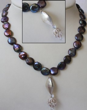 Flat purple pearls with silver necklace