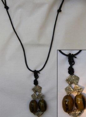 Cats eye,antique squares and black leather necklace