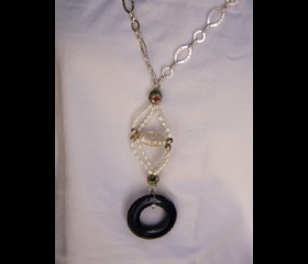 Granite and pearls long necklace