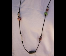 Ceramic bead long necklace