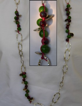 Large silver metallic chain-green and burgundy glass beads