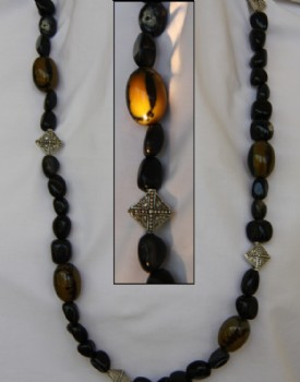 Black agate and cats eye necklace