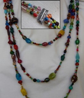 Three rows of colourful beads necklace