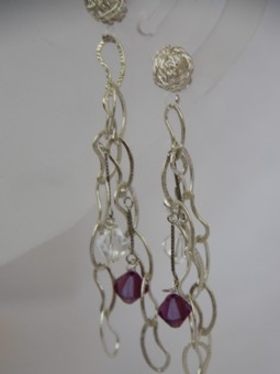 Shandelier earrings(silver-purple)