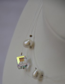 Silicon-pearl-swarowsky necklace