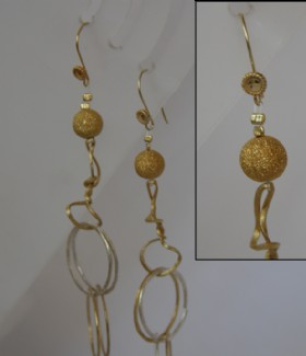 Round chain and golden bead eaRrings
