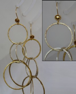 Double round chain silver and gold plated earrings